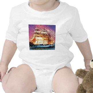 tallship y fuegos artificiales trajes de bebé