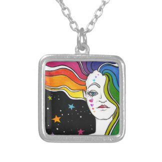 Tallulah Pop Art Diva Silver Plated Necklace