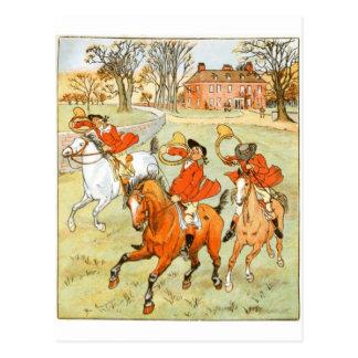 Tally Ho! Horse Riding Print Postcard