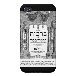 """Talmud """"Wisdom/Deeds"""" Quote Gifts Cards Covers For iPhone 4"""