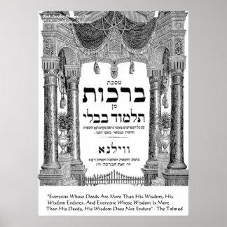 "Talmud ""Wisdom/Deeds"" Quote Poster"
