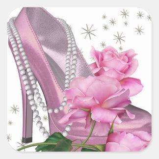 Talón bonito del rosa hola subió pegatina cuadrada