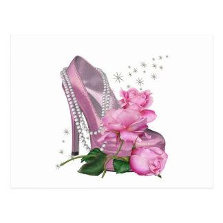 Talón bonito del rosa hola subió postal