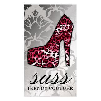 Talón del leopardo del rojo cereza de 311 Sass Tarjetas De Visita