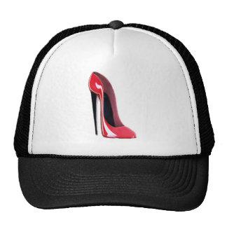 Talón negro, zapato rojo del estilete gorros