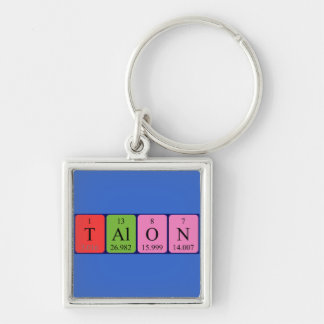 Talon periodic table name keyring Silver-Colored square keychain