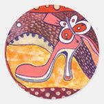 Talón rosado etiqueta redonda