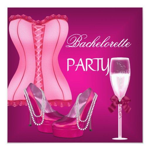 Talones de los zapatos del rosa del corsé del invitación 13,3 cm x 13,3cm
