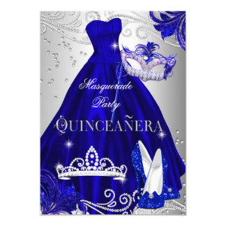 """Talones de plata azules del vestido de Quinceanera Invitación 5"""" X 7"""""""