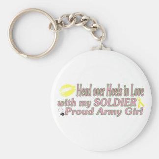 Talones en amor con un soldado llavero redondo tipo pin