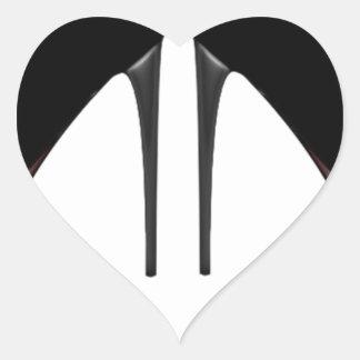 Talones negros calcomania de corazon