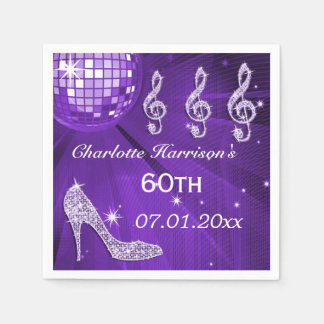 Talones púrpuras 60.os de la bola de discoteca y servilletas desechables