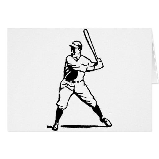 Talud blanco y negro del béisbol tarjeta de felicitación