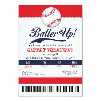Talud de LGC encima versión del boleto del béisbol Invitación 8,9 X 12,7 Cm