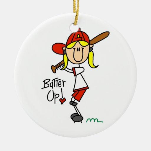 Talud del béisbol de los chicas encima de las cami ornamentos de navidad