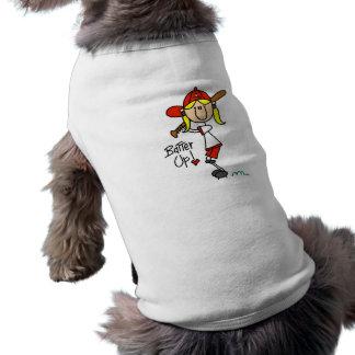 Talud del béisbol de los chicas encima de las cami camisetas de perrito