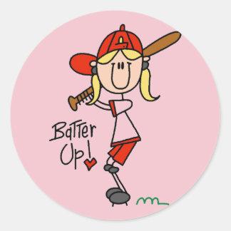Talud del béisbol de los chicas encima de las etiqueta redonda