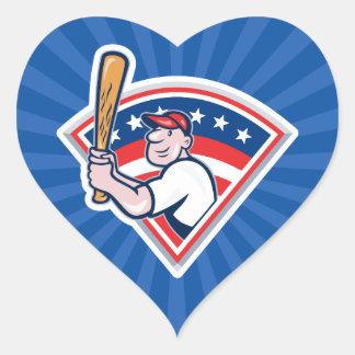 Talud del béisbol pegatina en forma de corazón