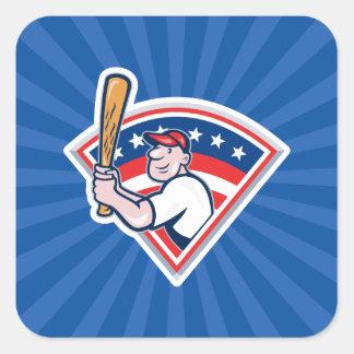 Talud del béisbol pegatina cuadrada