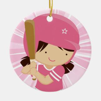 Talud del chica del softball en rosa y blanco adorno navideño redondo de cerámica