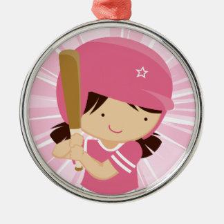 Talud del chica del softball en rosa y blanco adornos