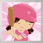 Talud del chica del softball en rosa y blanco impresiones