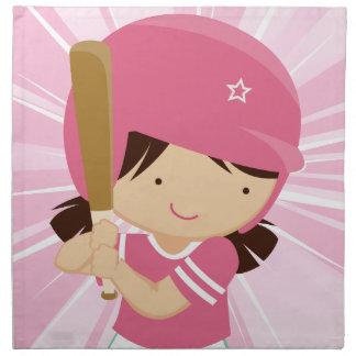 Talud del chica del softball en rosa y blanco servilleta de papel
