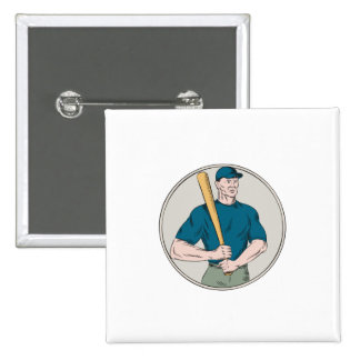 Talud del jugador de béisbol que lleva a cabo la pin cuadrado