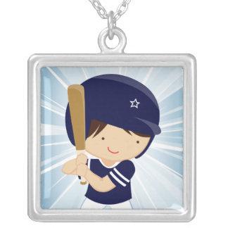 Talud del muchacho del béisbol en azul y blanco grimpola