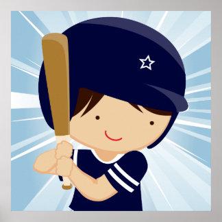 Talud del muchacho del béisbol en azul y blanco póster