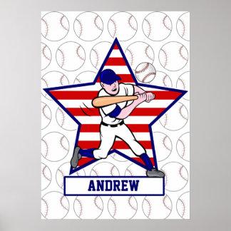 Talud personalizado v1 del béisbol de las barras y póster