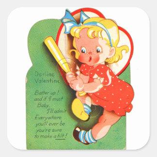 Talud retro de la tarjeta del día de San Valentín Pegatinas Cuadradases Personalizadas