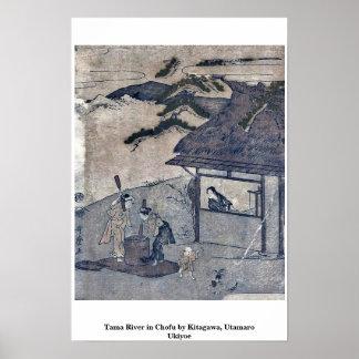 Tama River in Chofu by Kitagawa, Utamaro Ukiyoe Print