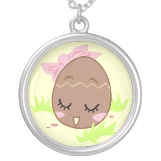 Tamagotchi retro easter lucky charm round pendant necklace