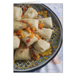 Tamales on decorative plate greeting card