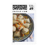 Tamales on decorative plate postage stamp