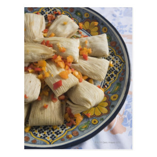 Tamales on decorative plate postcard