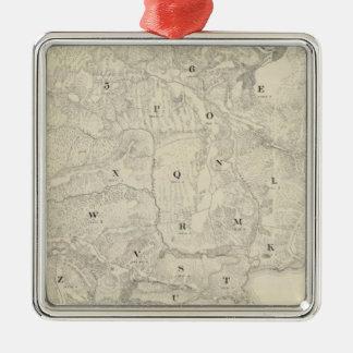 Tamalpais Land y mapa de Water Company Adorno Cuadrado Plateado