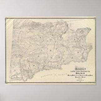 Tamalpais Land y mapa de Water Company Póster