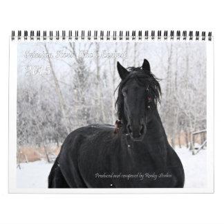 Tamaño estándar de la foto frisia del caballo calendario de pared