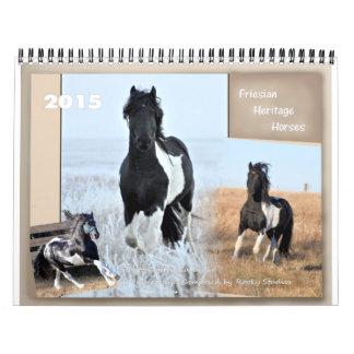 Tamaño estándar del caballo frisio de la herencia calendario de pared