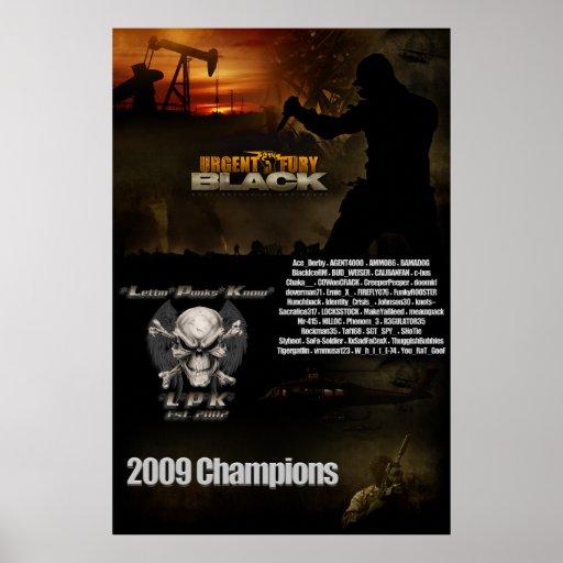 Tamaño negro de la pared del poster del campeonato