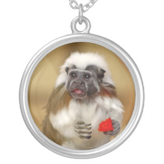 Tamarin Cotton Top monkey necklace, gift Silver Plated Necklace