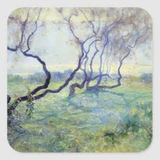 Tamarisk Trees in Early Sunlight by Guy Rose Square Sticker