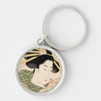 Tamaya uchi shizuka Silver-Colored round keychain