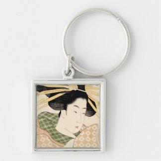 Tamaya uchi shizuka Silver-Colored square keychain