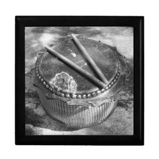 Tambor chino hecho a mano tradicional joyero cuadrado grande