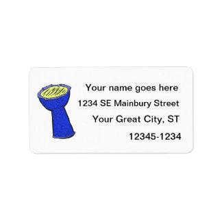Tambor de la mano de Djembe del metal azul y amari Etiqueta De Dirección