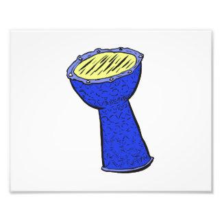 Tambor de la mano de Djembe del metal azul y amari Impresión Fotográfica