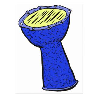 Tambor de la mano de Djembe del metal azul y Postal